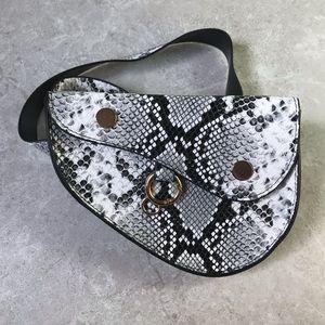 Handbags - Faux Snakeskin Belt Purse